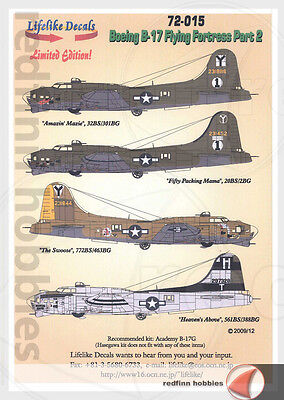 Lifelike Decals Boeing B-17 Flying Fortress Pt.2 1/72 decals