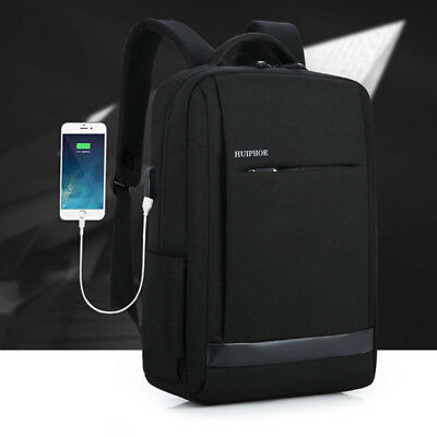 "USB Charge Interface 15.6"" Laptop Backpack Notebook Men Shoulder Bag Waterproof"
