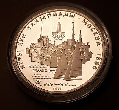 1977 USSR 5 Roubles Moscow Olympics Silver Proof Coin (90% Silver) - Tallin