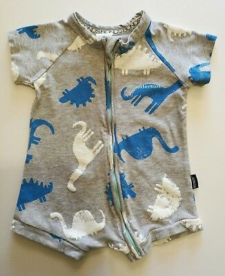 Baby Boys Bonds Summer Zippy Wondersuit size 00 Blue Dino Dinosaurs