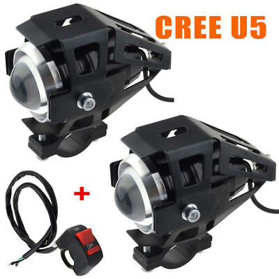 2pcs 125W CREE U5 LED Headlight Motorcycle Driving Fog Spot Bulb Light & Switch