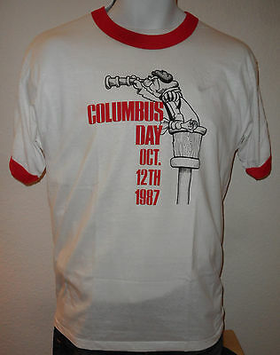 VINTAGE 1987 LAS VEGAS PALACE STATION CASINO Made In USA Columbus Day T SHIRT L