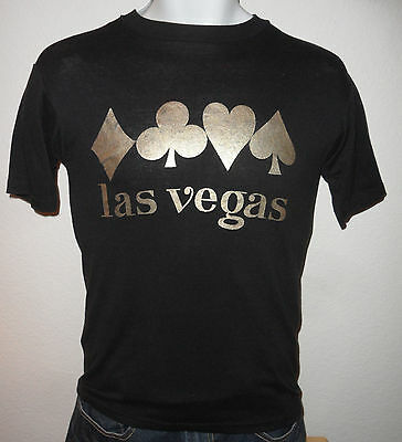 Original VINTAGE 1980s LAS VEGAS CASINOS HOTELS Gambling POKER Thin T SHIRT M