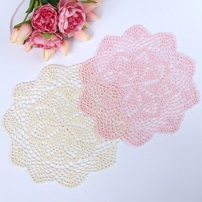 Crochet doilies ivory and light pink 29 - 30 cm for millinery and crafts