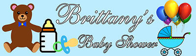 4ft Personalized Name Blue Teddy Bear Stroller Welcome Baby Shower Party Banner