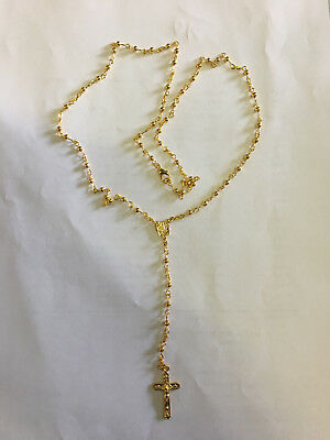 NEW Gold Plating Metal Rosary Necklace for Children / Adults in Gift Box
