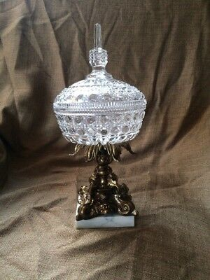 Antique Crystal Compote Saw Tooth Bowl & Lid W/Marble Base And Brass Pedestal
