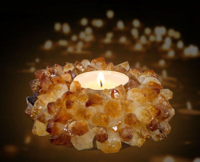 Natural Citrine Crystal Gemstone TeaLight Candle Holder Reiki Energy Healing