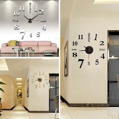2017 DIY 3D Number Wall Clock Mirror Sticker Home Office Decor Art Design