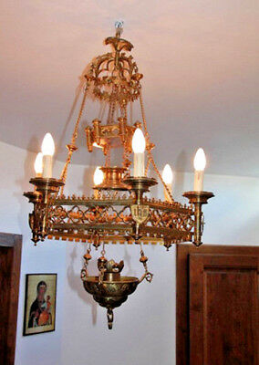 Rare Antique French 1900 Church sanctuary lamp Brass chandelier religious