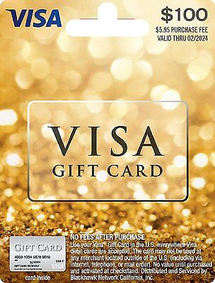 $100 VISA Card. Activated, No fees, Free Super-fast 2-Day Delivery.