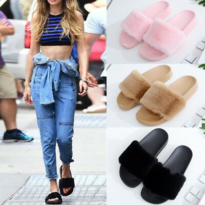 Womens Ladies Flats Fur Slip On Comfy Flip Flop Slider Slippers Rubber Sandals