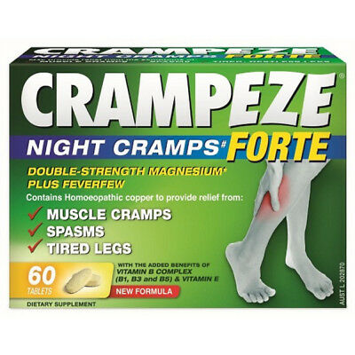 Crampeze FORTE Night Cramps / Spasms / Tired Legs DOUBLE STRENGTH 60 Tablets
