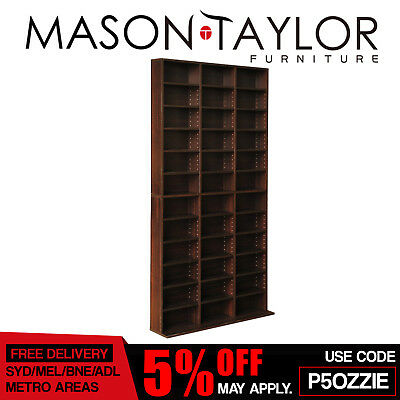 Mason Taylor Adjustable CD DVD Storage Shelf Rack Stand Book Unit Cupboard Brown