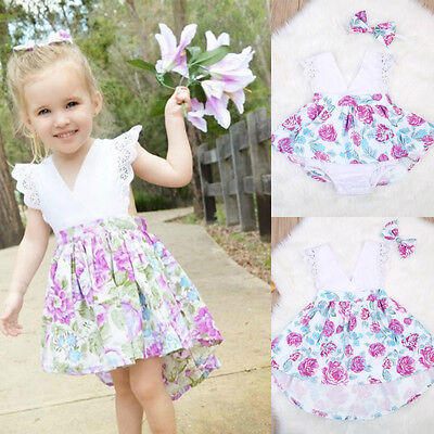AU Stock Newborn Baby Girls Clothes Floral Romper Dress Jumpsuit+Headband Outfit