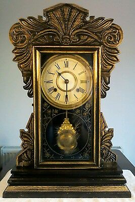 Antique Jerome & Co Gingerbread American Striking Clock with Oak Case c1850s