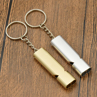 Camping Double Tube Outdoor Survival Whistle Sounder Traning Emergendy Keychain