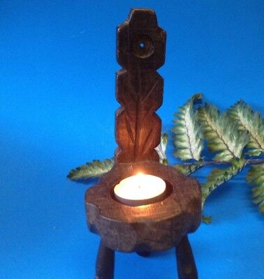 Tealight Candle Holder - Rustic Wood 3 Legged Spinners Chair - Hand-Carved
