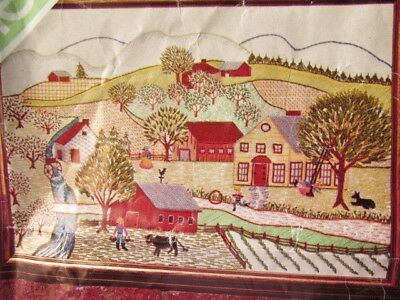 17x25 Vintage Spinnerin  SUMMER Scene EMBROIDERY Stitchery  Veva Wood LINEN ONLY