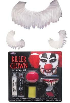 Horror Clown Fancy Dress Fake Spiked Fang Teeth White Ruffle Cuff IT Pennywise