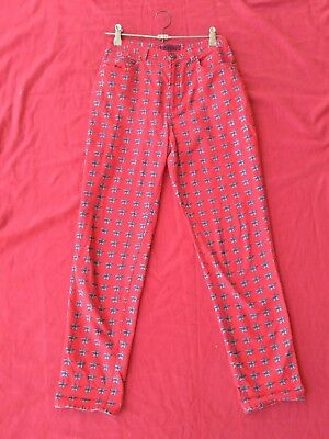 Genuine 90's Vintage Versace High-Waisted Jeans Sz 30 in Red/Black Star Pattern