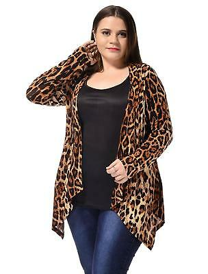 Ladies Plus Size Leopard Prints Casual Open Front Fashion Cardigan Long Sleeves