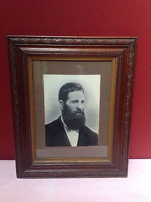 5 antique oak framed family portraits