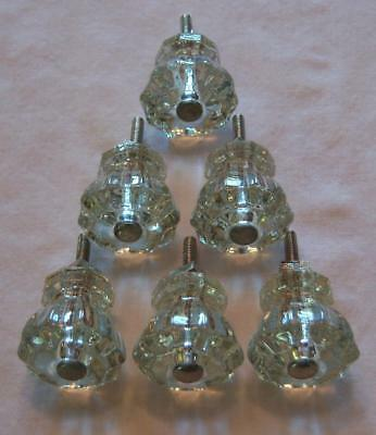 "Vtg. Orig. SET/6 CLEAR GLASS ""RUFFLED"" DRAWER PULLS Dresser Cabinet Hardware"