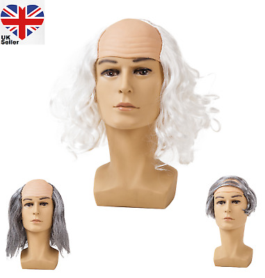 Mad Scientist Wig Halloween Fancy Dress Crazy Professor Einstein Bald Comb Over