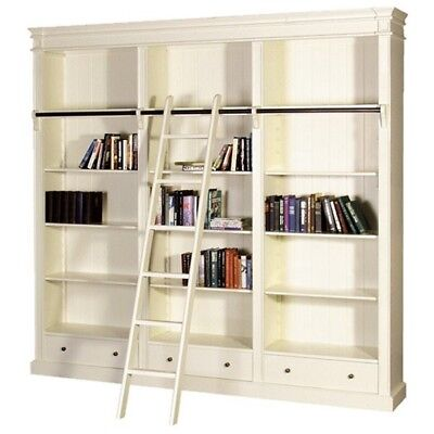 Cream 'Fayence' Library Bookcase with ladder