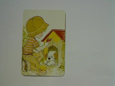 """1 Single Swap/Playing Card-Unsigned """"Sarah Kay"""" Boy Painting Kennel (Blank Back)"""