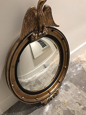 Antique FEDERAL Style Round Convex BULLSEYE MIRROR Gold Frame EAGLE