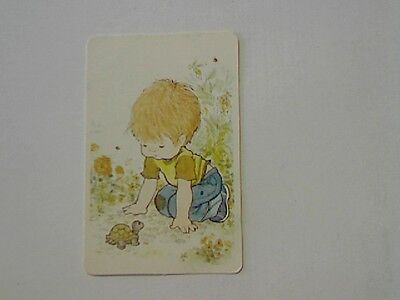 """1 Single Swap/Playing Card-Sarah Kay""""Unsigned""""Boy with Tortoise (Blank Back)"""
