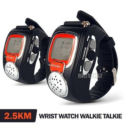 Pair 2-Way Microphone Walkie Talkie Radio Digital Wrist Watch Voice Communicator