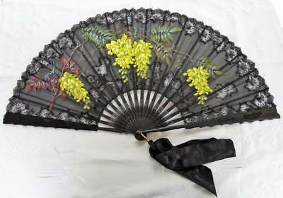 Antique Victorian Carved Ebony, Black Chantilly Lace & Painted Gauze Fan - c1890