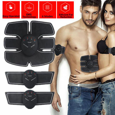 EMS Muscle Training Body Shape Fit Set ABS Six Pad Massage Sticker Controlle -CA