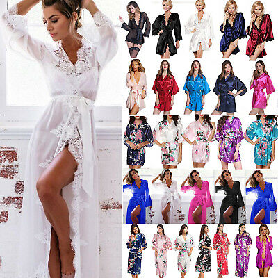 Women Lady Floral Silk Satin Kimono Robe Lace Dressing Gown Sleepwear Nightwear