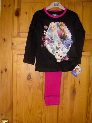 Girls Disney 'Frozen' Pyjamas Black/Pink   - Ages 3/4 -5/6 -7/8 -9/10 Years