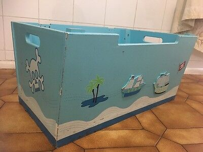 Pirate Chest Wooden Blue Blanket Box Toy Storage Display Boys Bedroom