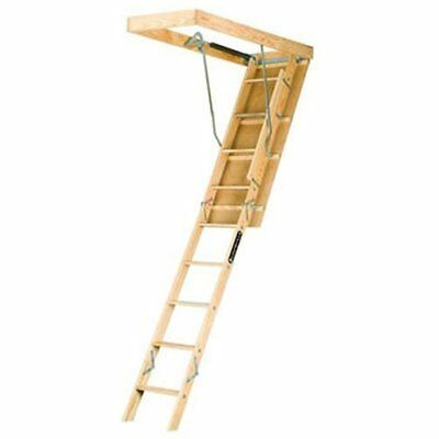 Extension Ladders L224P 250-Pound Duty Rating Wooden Attic Fits 8-Foot 9-Inch To