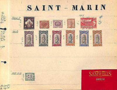 SS3150 1894-1918 SAN MARINO. Original album page from old-time collection