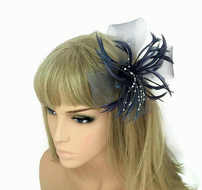 Stunning Silver Grey Flower Fascinator Hair Clip with Pearl Beads and Feathers