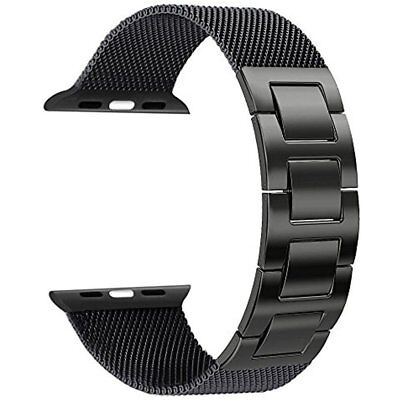 HOT Milanese Mesh Loop / Hand Removal Links Band For 42mm 1/2 Apple Watch Black