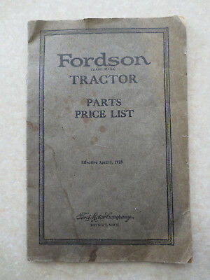 Original 1923 Fordson tractor illustrated parts list