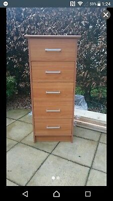 cherry effect tall chest of drawers