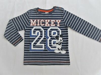 Boys Toddlers T Shirt Mickey Mouse 28 Print Babies Blue Striped Kids Top 6-24 M