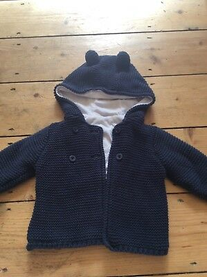 Baby Boys Blue Hooded Cardigan 3-6 Months M&S