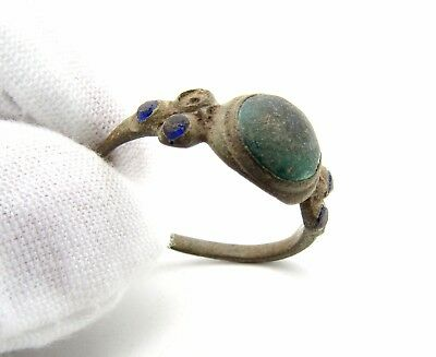 Late Medieval Ring W/ 1 Green & 4 Blue Stone/gem- Rare Artifact Wearable - M653