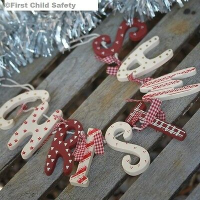 Christmas Wooden Decoration Garland Red Cream Vintage Shabby Chic Gift Boxed NEW