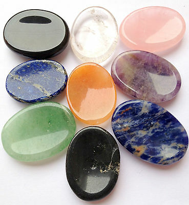 Nine Gemstone Worry Stones Lot Gift Reiki Crystal Healing Metaphysical Psychic
